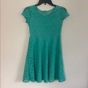 Girl's CHEROKEE Green Turquoise Lacy Dress L 10/12